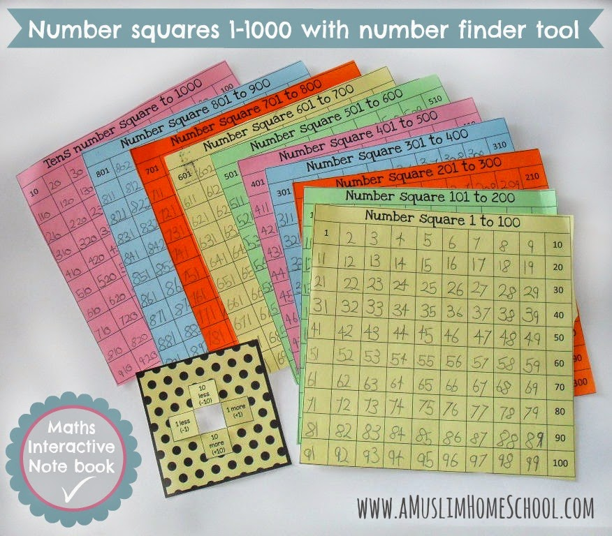 number sqaures 1 -1000 interactive maths note book