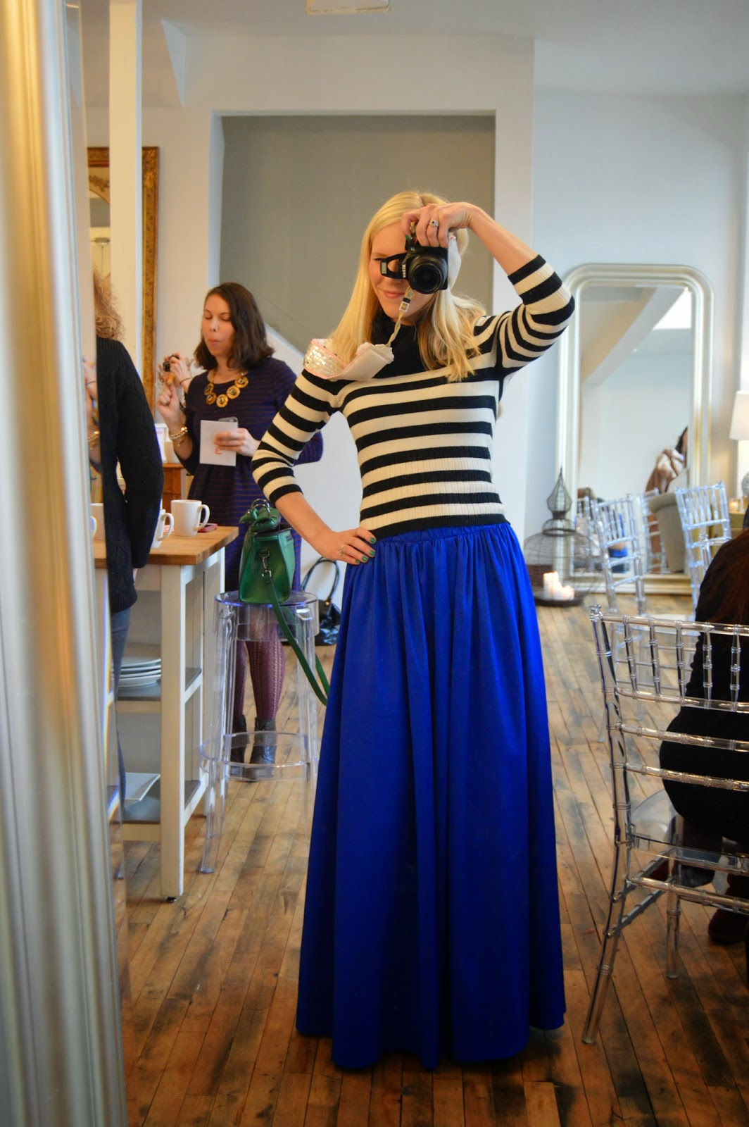 Royal blue maxi skirt with black & white cowl sweater