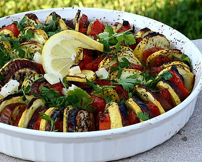 Stacked Ratatouille for a Crowd ♥ AVeggieVenture.com. Easy, versatile baked eggplant, summer squash and tomato. Low Carb. Paleo. Whole 30. Vegan. WW3.