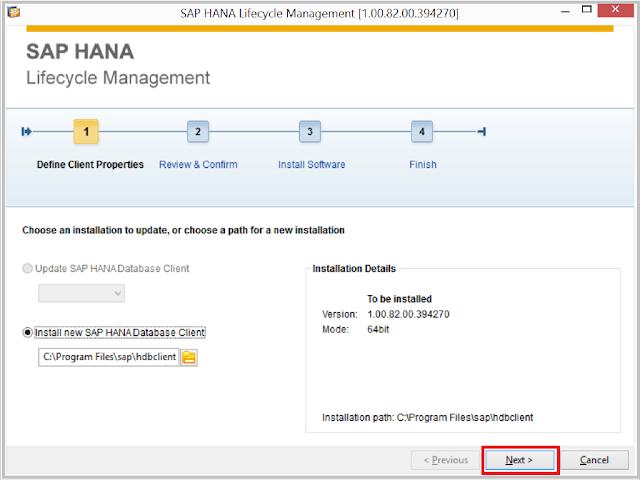 SAP HANA Client Install 1