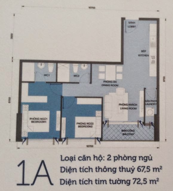 Căn hộ Vinhomes Central Park 6 - căn hộ số 1A - 72,5m2 - 2PN