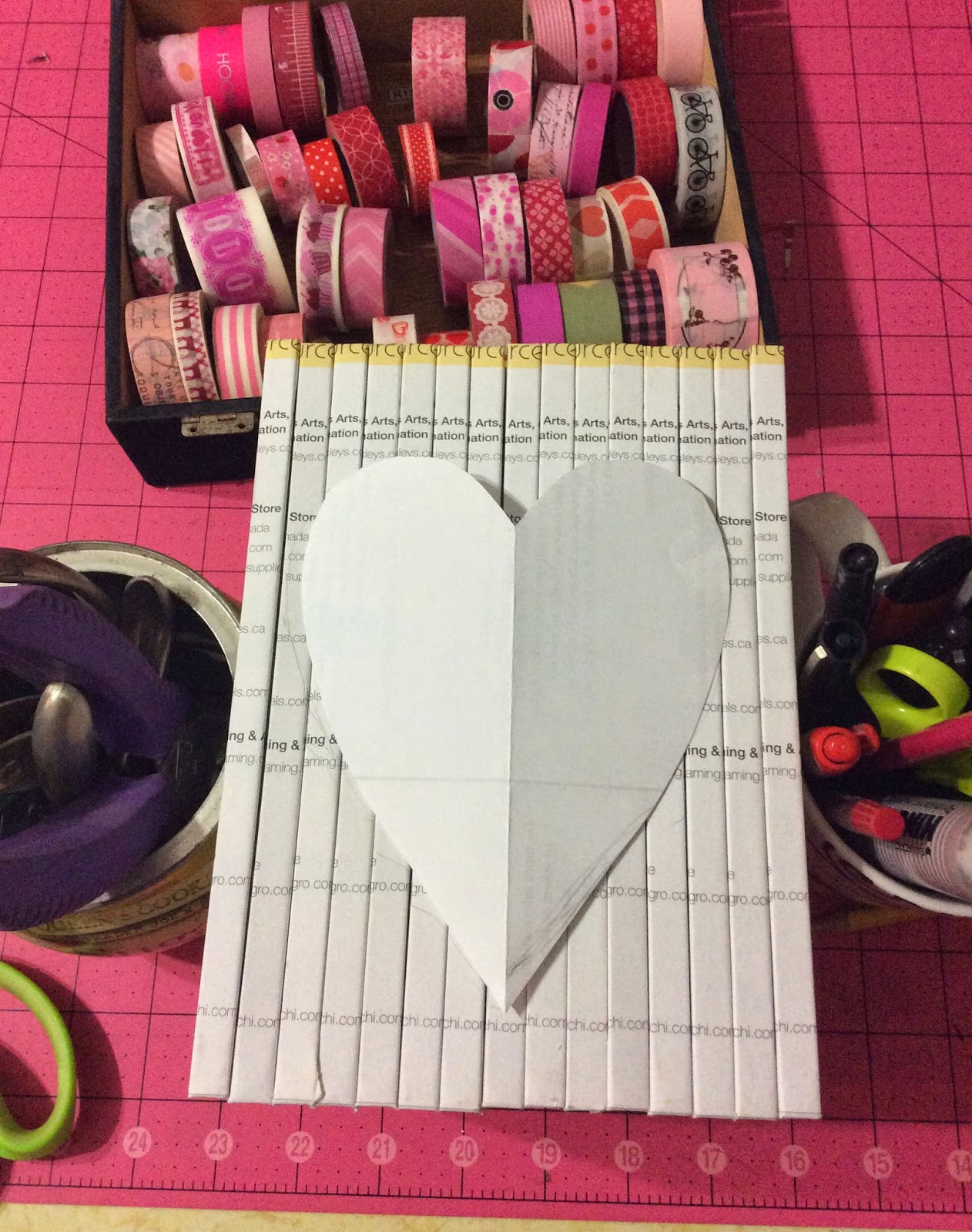 heart, book spine art, Valentine's day, craft, washi tape, collage, Valentine decoration