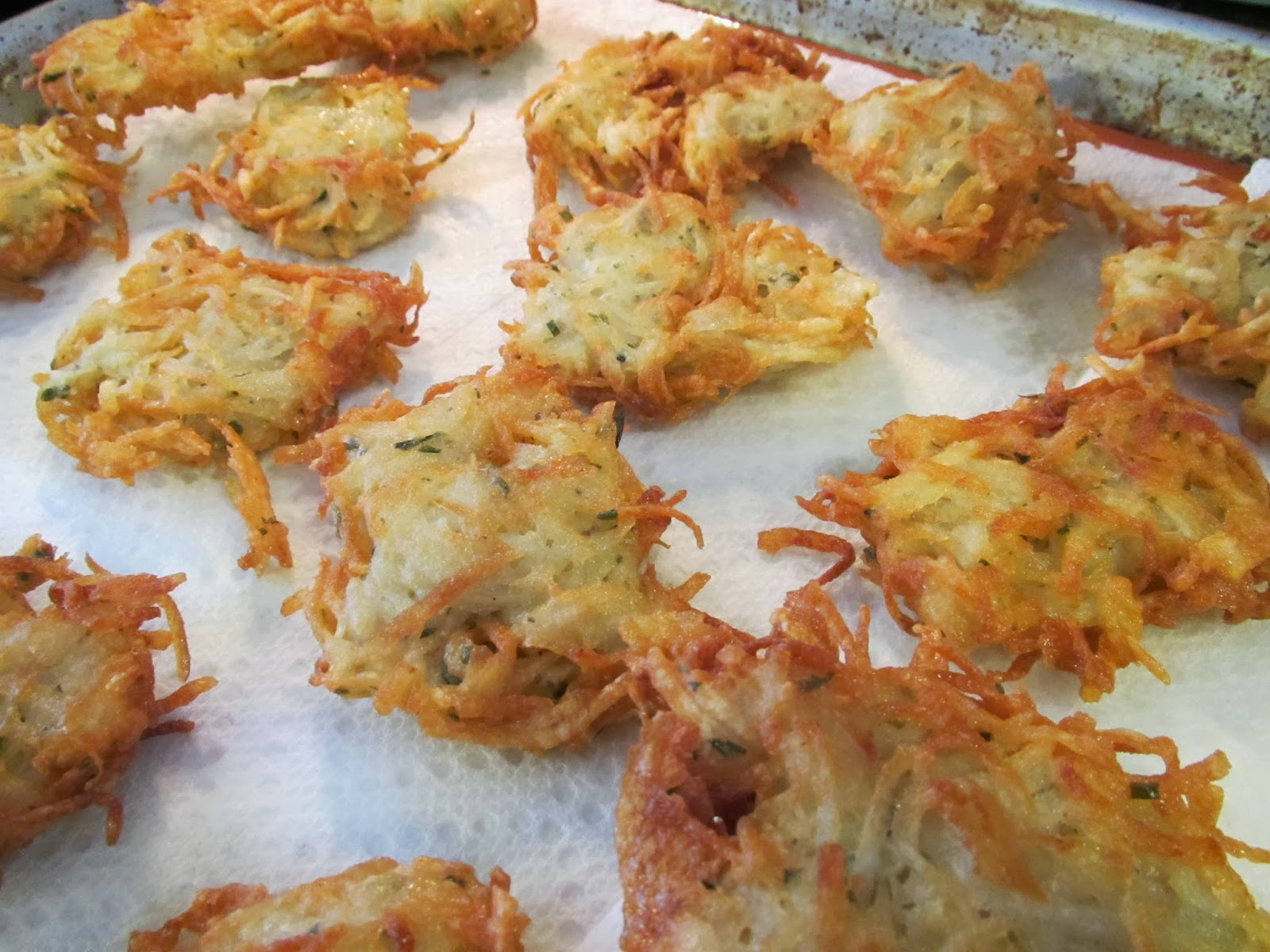 ... latkes (really I'm re-filling since the first tray of latkes seems to