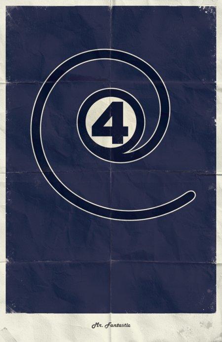 marko manev ilustração poster minimalista super heróis marvel Sr. Fantástico