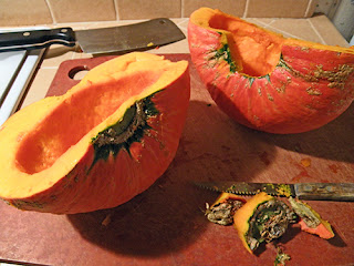 Kabocha Squash Halves on Cutting Board