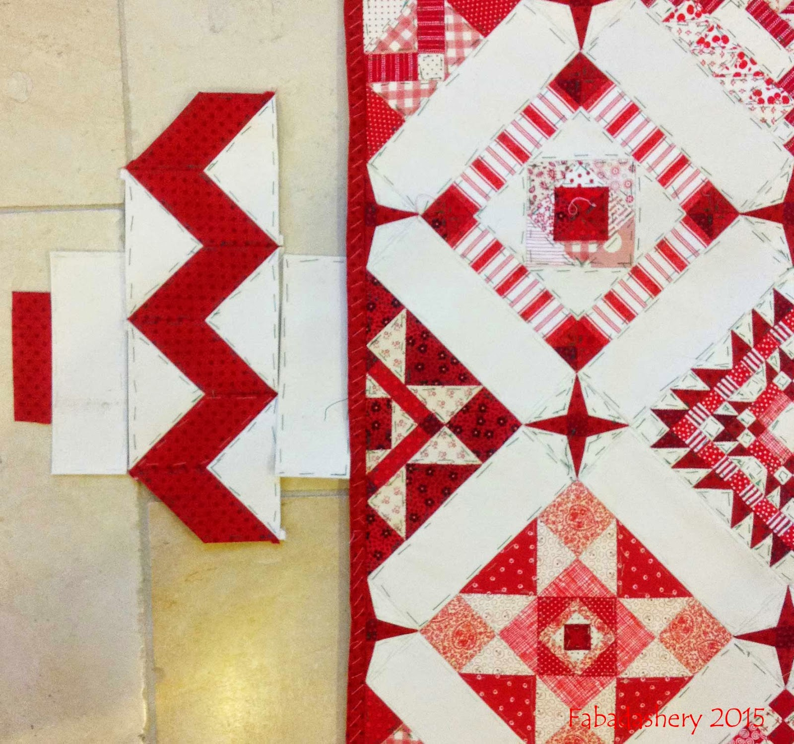 Nearly Insane Quilt - Solid Red Zig Zag Border