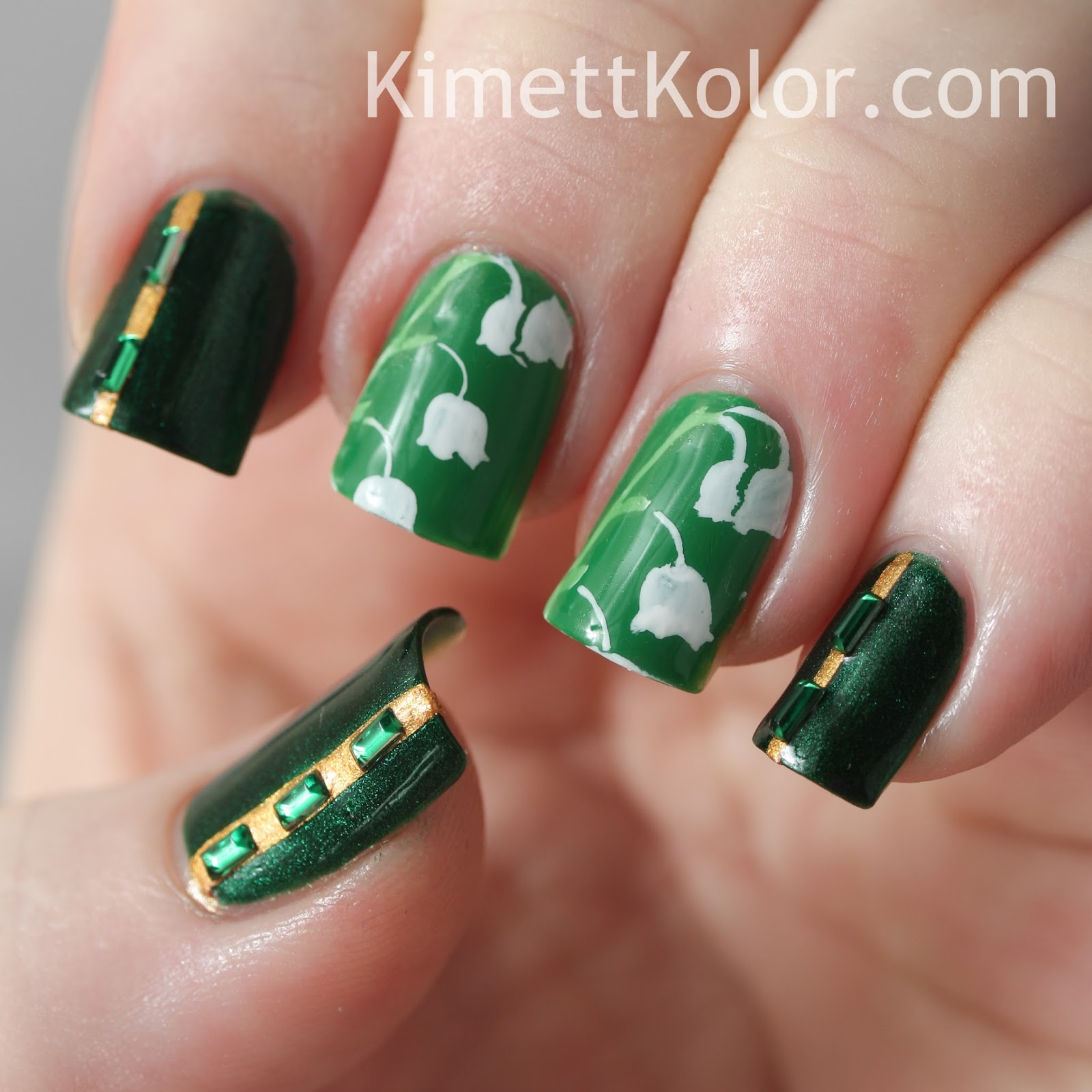 365 Days Of Nail Art March 2014: Theme Of The Month: May Emeralds Framing Lily Of The