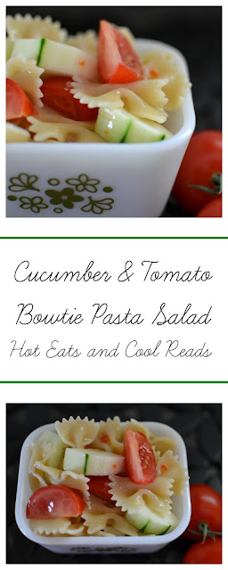 One of the easiest pasta salads ever! Great for lunches, potlucks and picnics! Cucumber and Tomato Bowtie Pasta Salad Recipe from Hot Eats and Cool Reads!