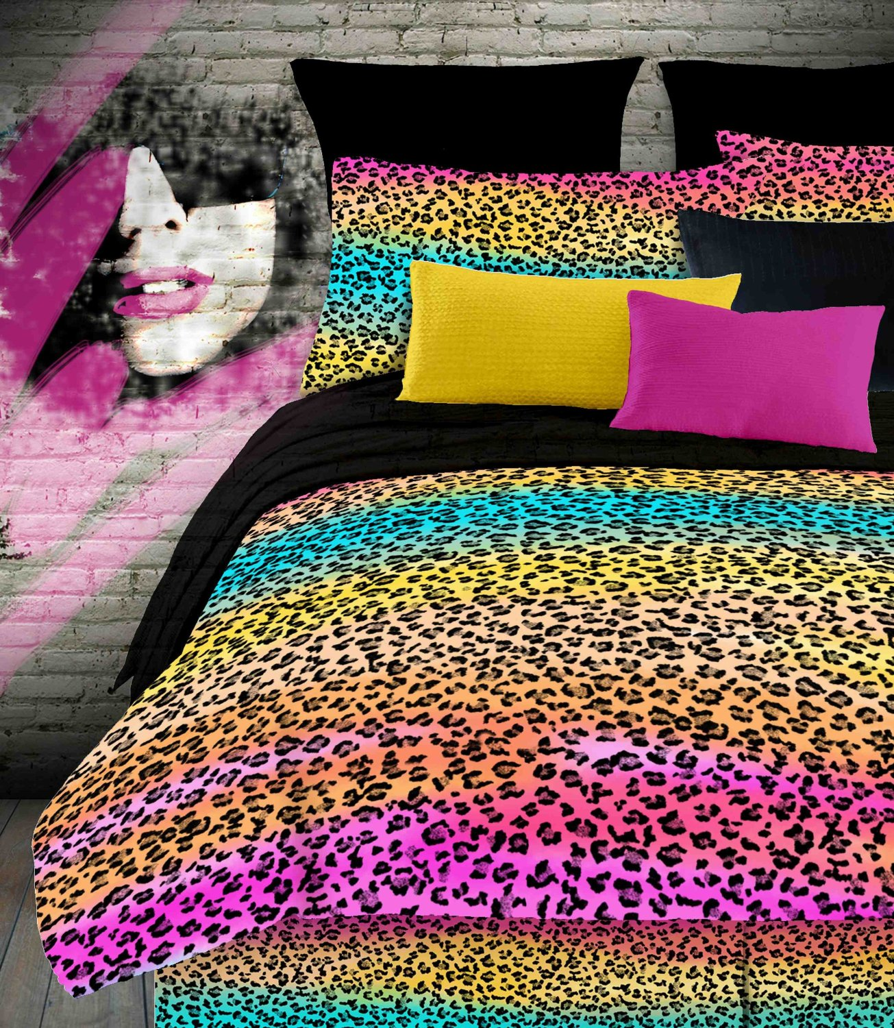 Bed sets for teenage girls zebra - Leopard Zebra Cheetah Rainbow Animal Print Bedding