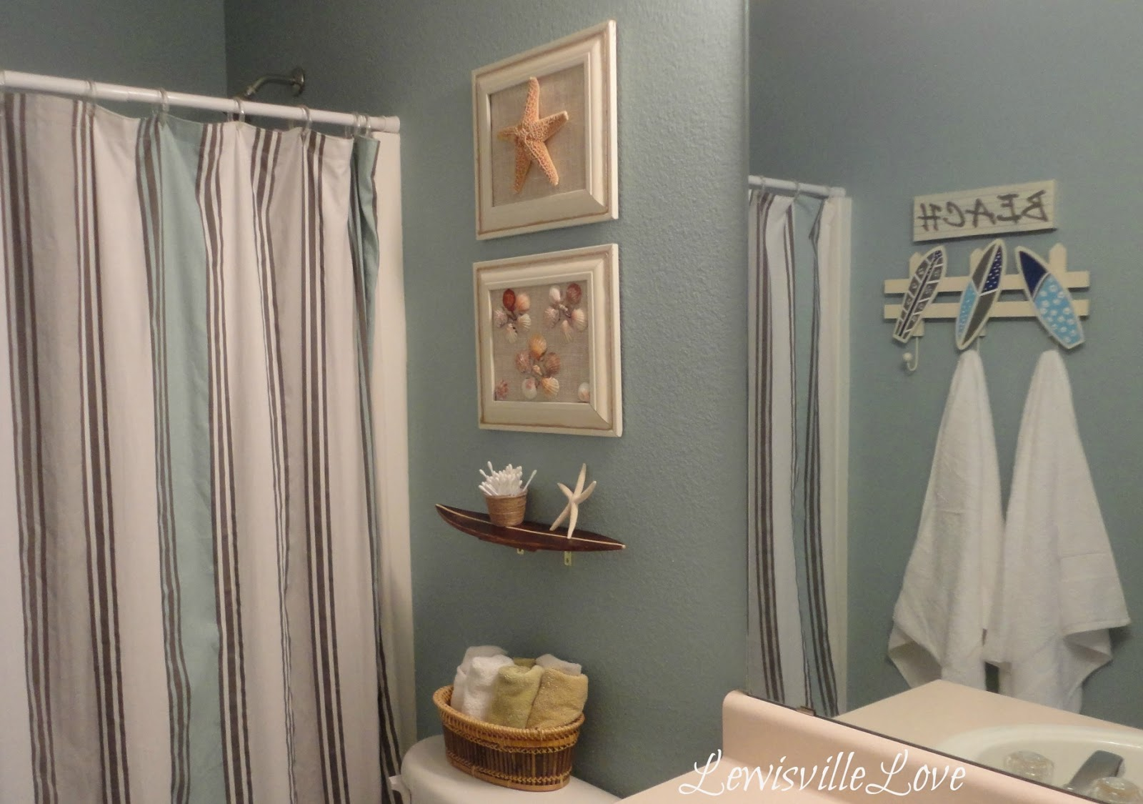 lewisville love beach theme bathroom reveal ForBeach Themed Bathroom Decor