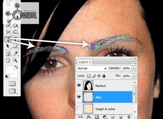 membuat pola garis vector alis menggunakan pen tool - tutorial membuat vector di photoshop - membuat foto menjadi kartun dengan photoshop