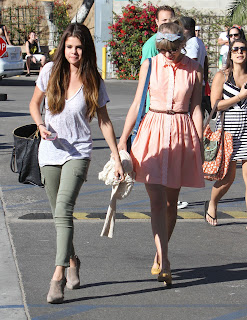 Selena Gomez and Taylor Swift at a parking lot in Malibu