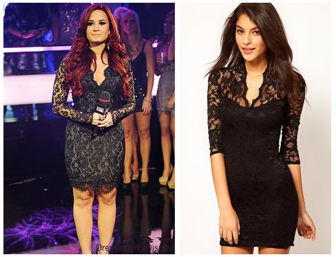 demi lovato asos lace dress with scalloped neck
