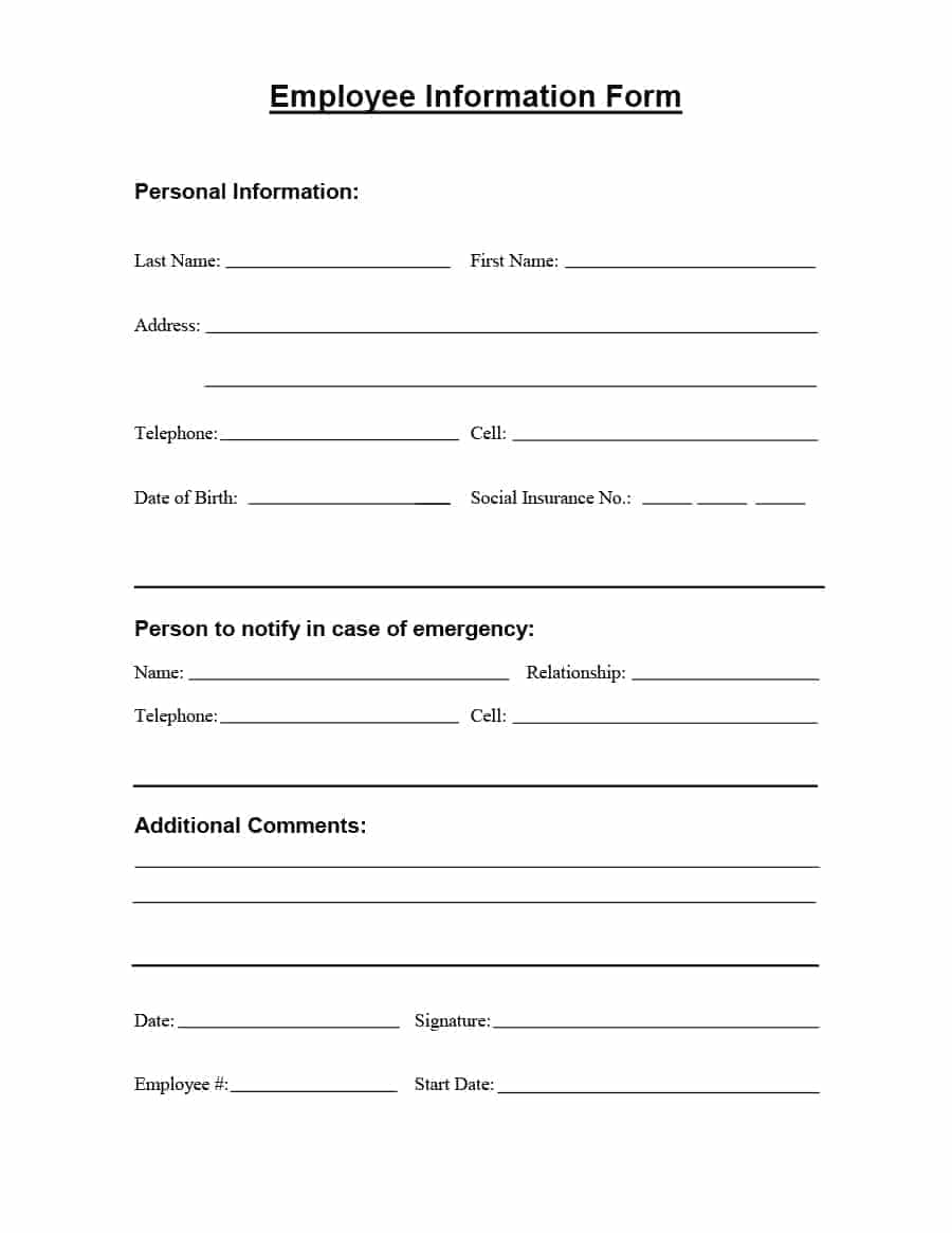 FORM YOU WILL GET UPON HIRE