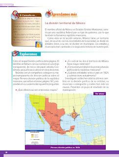 Apoyo Primaria Geografía 4to grado Bloque I lección 2 México y su división política