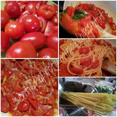 Spaghetti con pomodorini Ciliegini freschi saltati