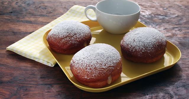 Homemade Lemon Curd Filled Doughnuts