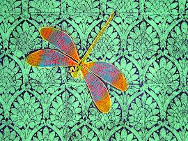 Patti Dragonfly Art Block printed fabric