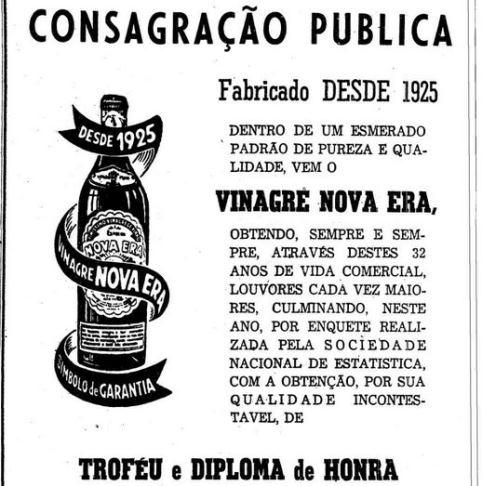 Propaganda do Vinagre Nova Era apresentado em 1957. Veiculado no jornal 'O Estado de São Paulo'.