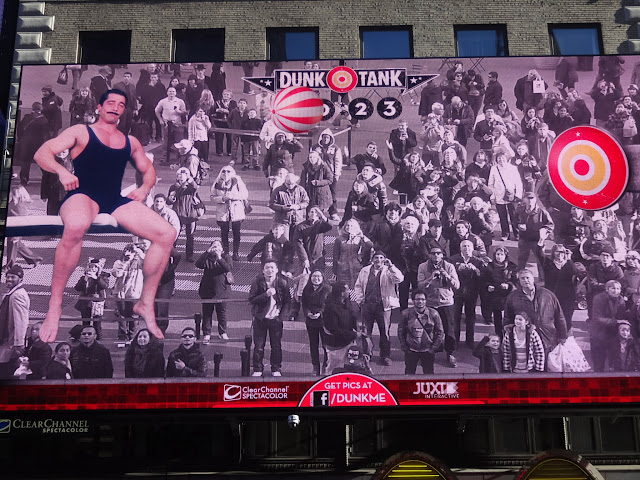 Seeing myself in the giant tv screen at Times Square in New York City, USA