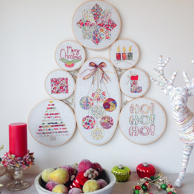 Liberty Christmas Hoop Tree Hanging Styled Decorations