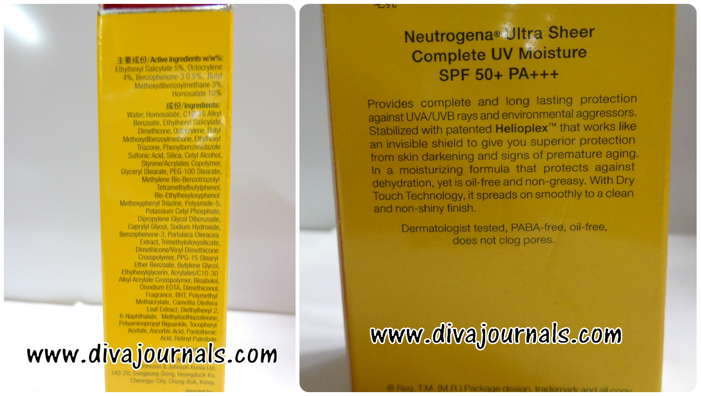 Neutrogena Ultra Sheer Complete UV Moisture Sunscreen SPF 50 Review