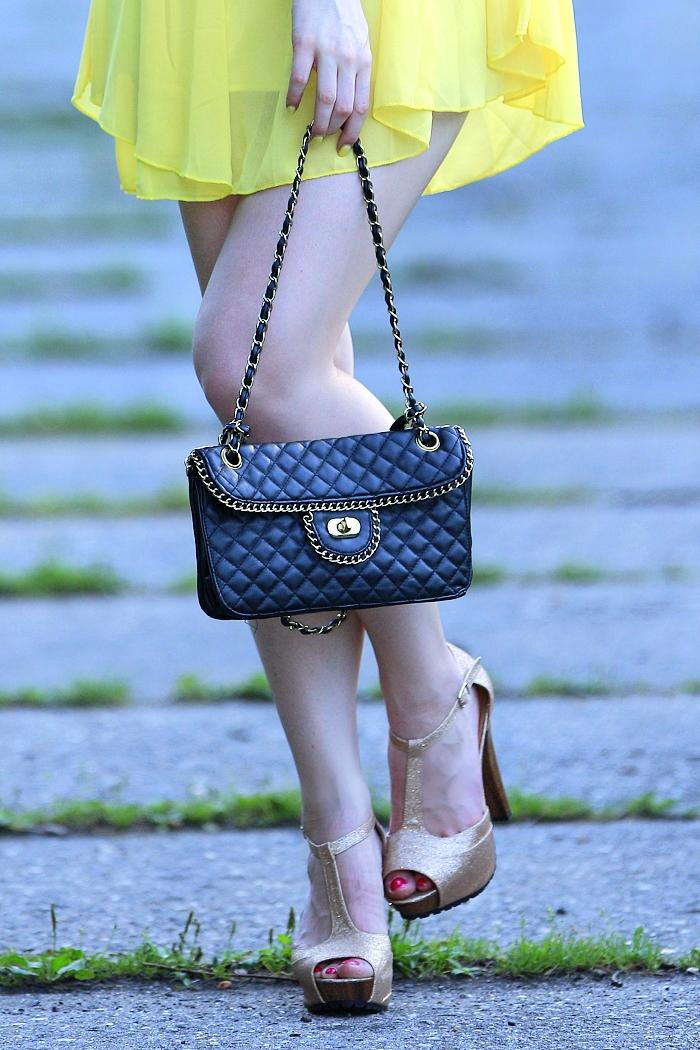 tally weijl, kabelka, gold heels, zlaté body, sexy nohy