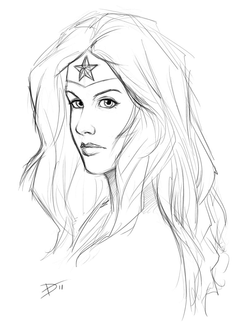 the gallery for wonder woman drawing easy