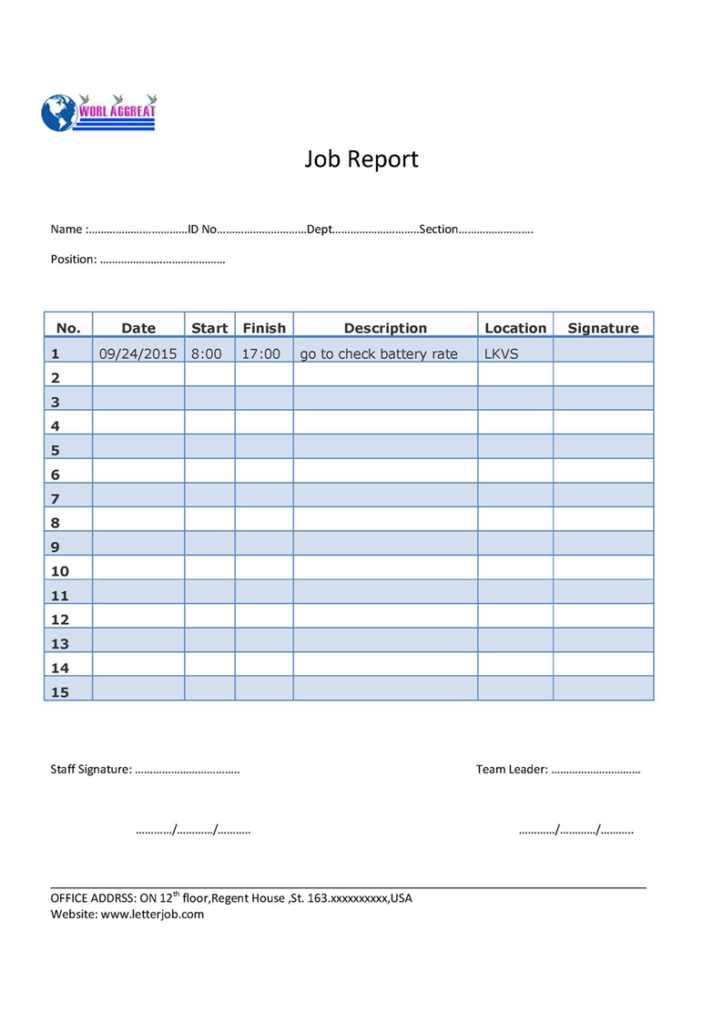 Daily Job Report Template | Daily Activity Report For Work Construction