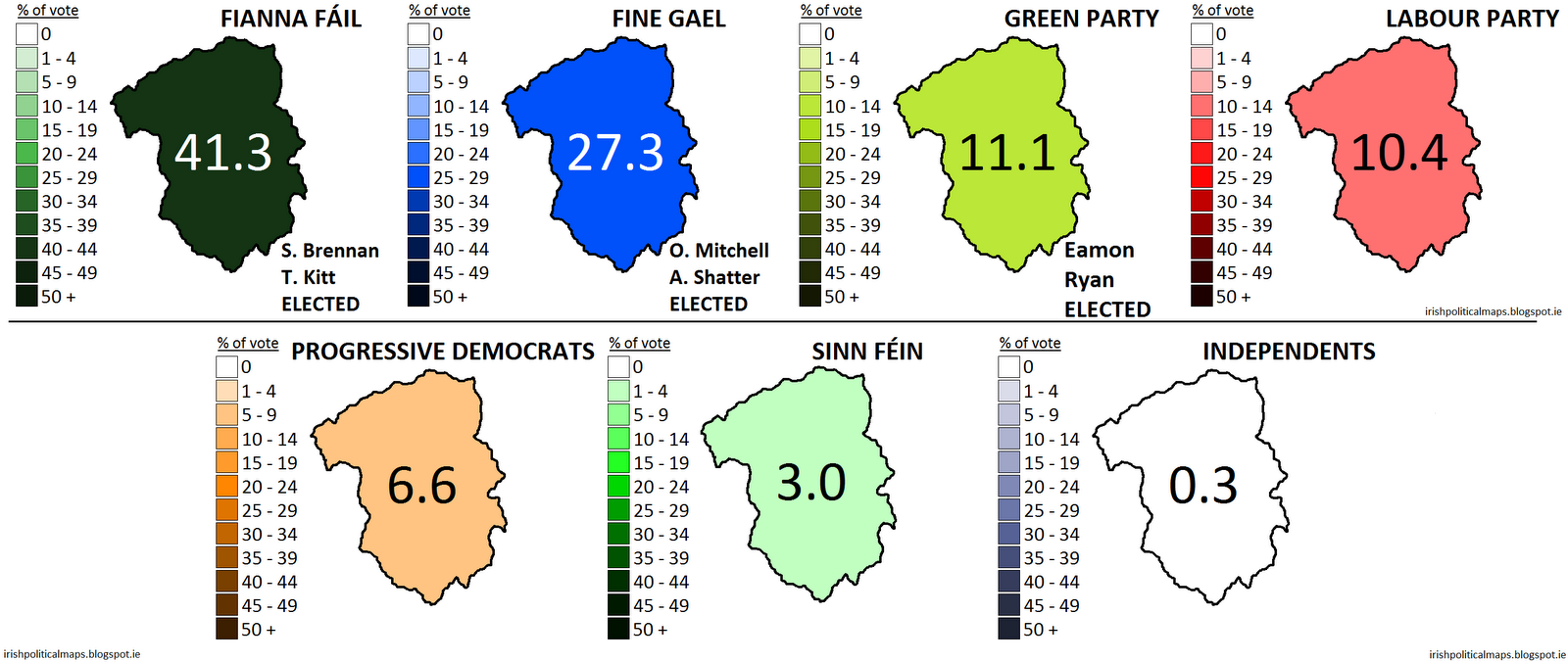 how the parties fared in dublin south in the 2007 general election with elected candidates named click to enlarge