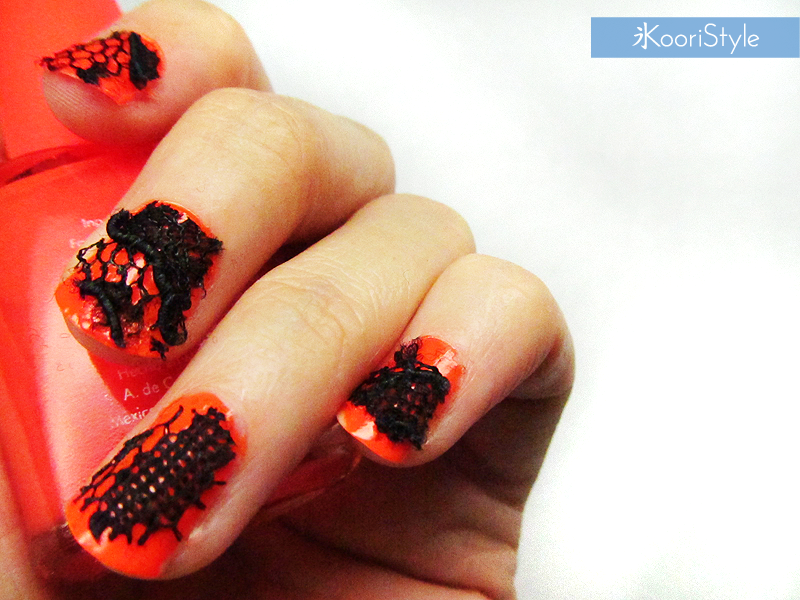 Koori KooriStyle Kawaii Cute DIY Tutorial Do It Yourself Idea Ideas Costume Cosplay Nail Nails Decoration Deco Art Halloween Lace Orange Black Polish