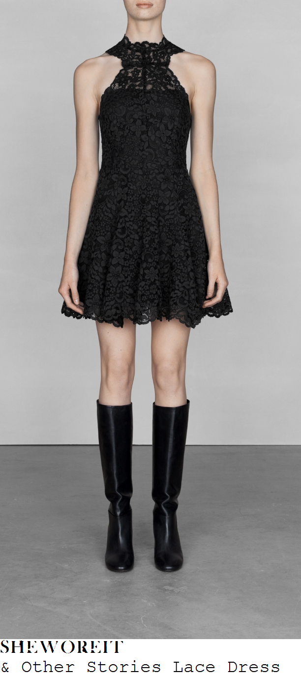 caroline-flack-black-floral-lace-sleeveless-dress-xtra-factor