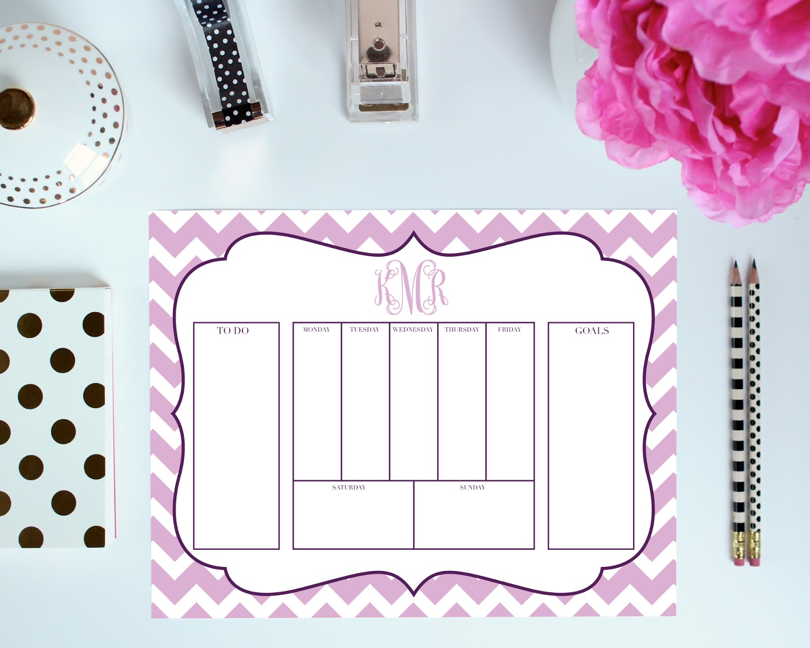 Weekly - To Do Layout - Printable Organization Pages can be customized with your monogram. You pick the colors, frame, font, and more!