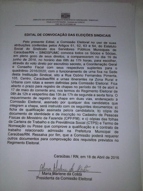 """Edital """"Eleições do SINDSPUMC 2016"""""""