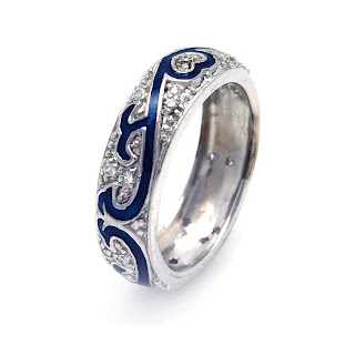 rings gallery sterling silver cz wedding band with blue enamel celtic