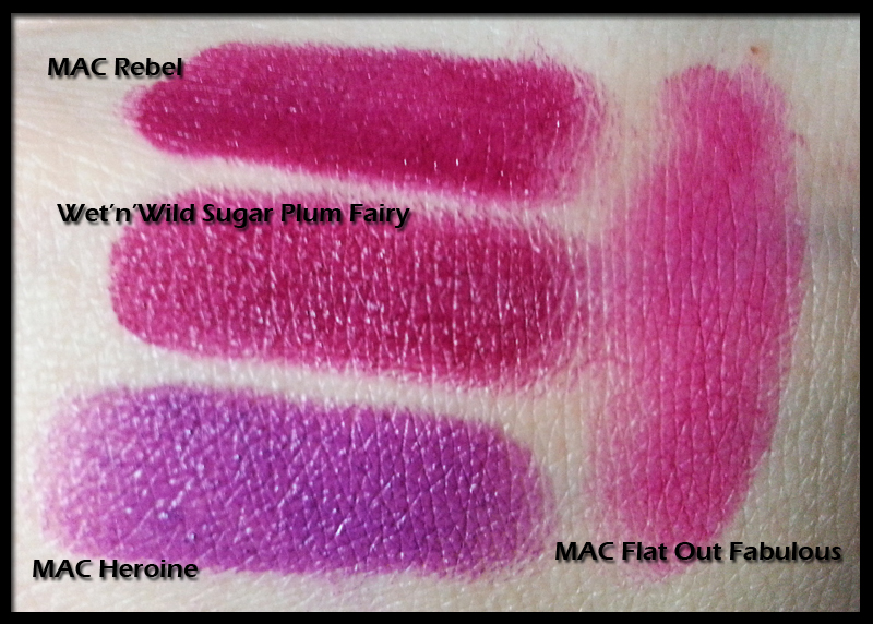 Wet n Wild Sugar Plum Fairy (908C) a confronto con MAC Rebel, Heroine e Flat Out Fabulous