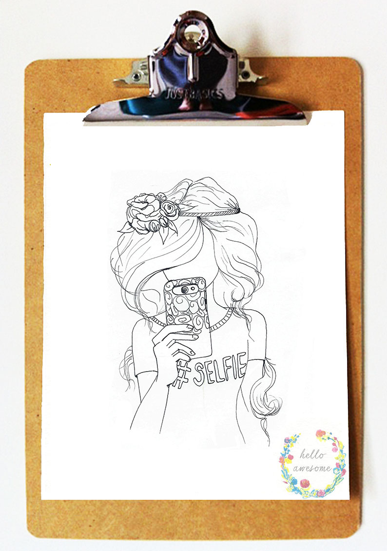 http://www.helloawesomeshop.com/collections/389337-whimsy-prints/products/7358892-selfie-black-white-8x10-illustration-print