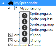 Step 3 Expand Mysprite Png File You Will Find Css Less Map And Scss Files These Files Are Nothing But To Backing Up The Sprite And Necessary To