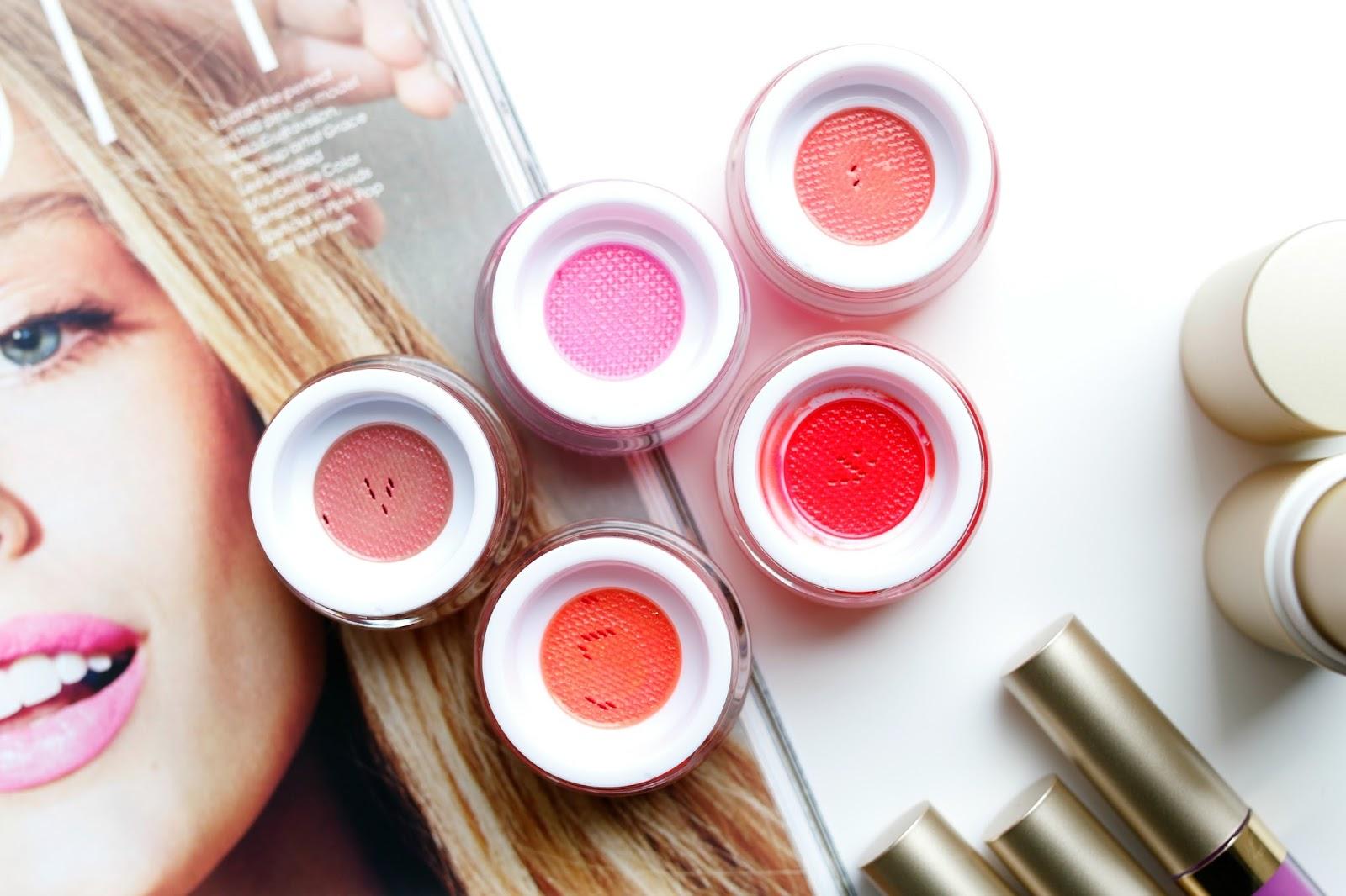 Stila aqua glow blush swatches on fair skin
