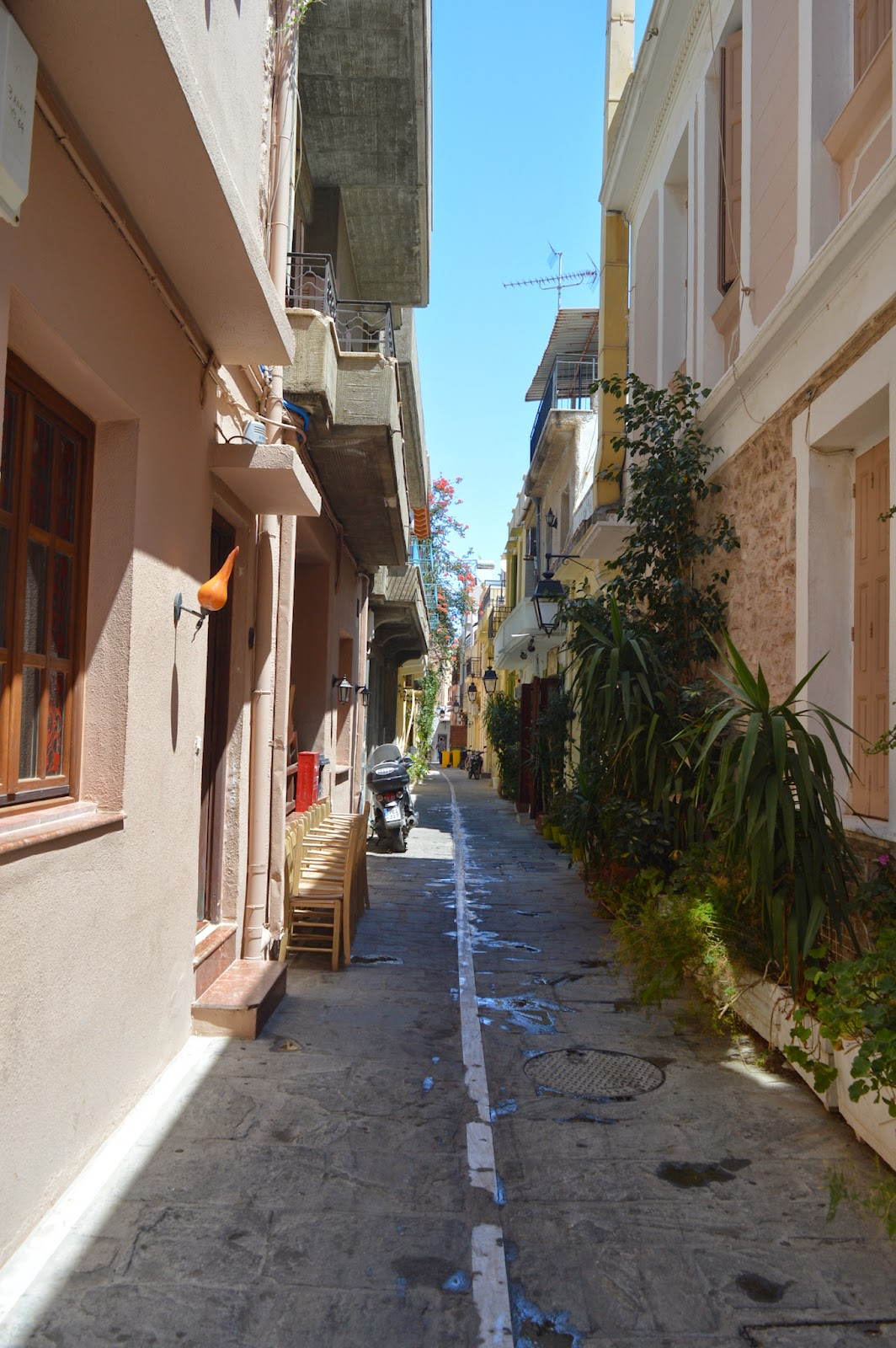 Small road inside the old town of Rethimno in Crete, Greece.