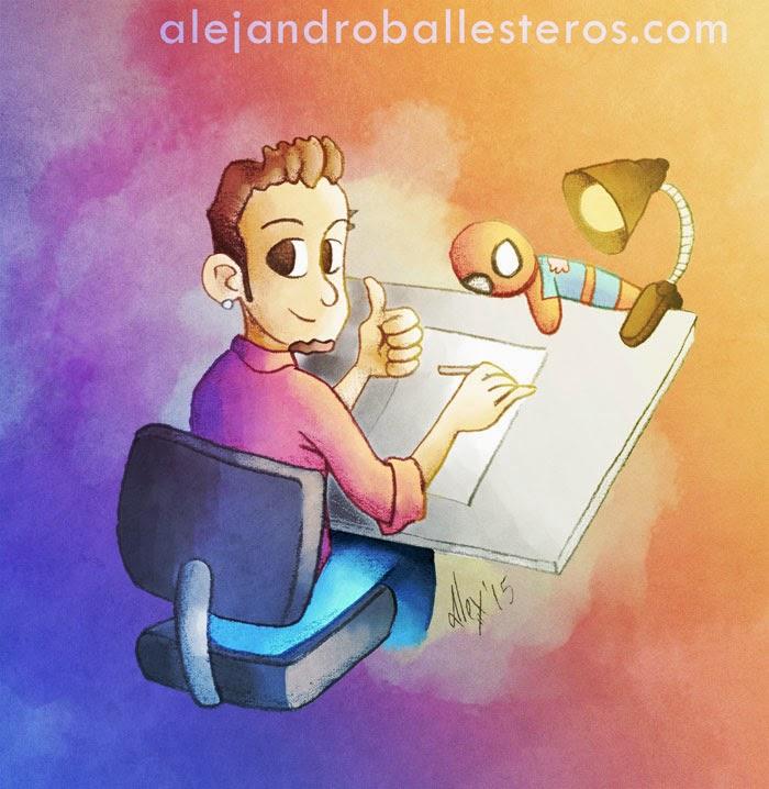 Alejandro Ballesteros en la mesa de dibujo