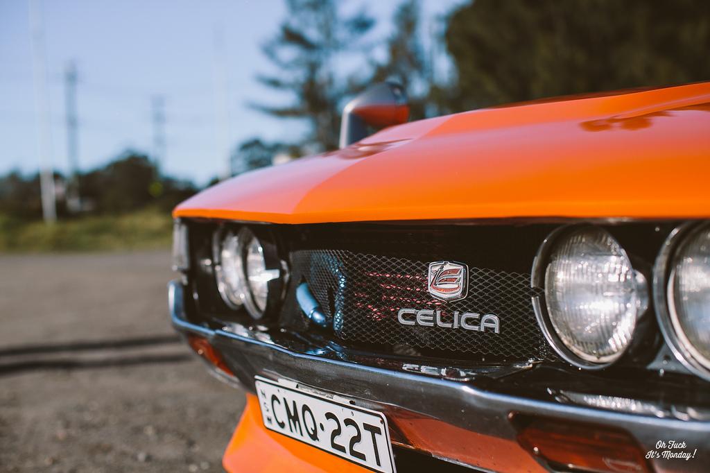 fajne sportowe samochody, japońskie, kultowe, Toyota Celica, fotki, RWD, orange, front, przód, pomarańczowy