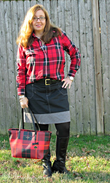 Casual Red Plaid Shirt Styled With Black Skirt, Tights and Boots