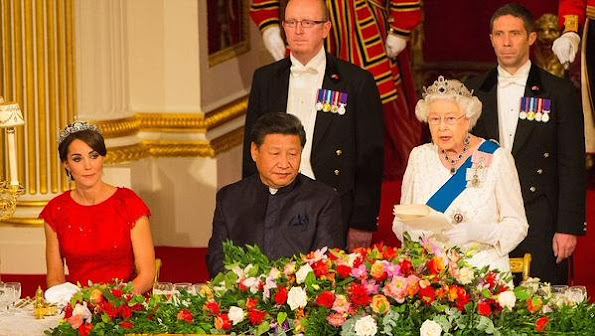 The Duchess of Cambridge attend her first state banquet at Buckingham Palace