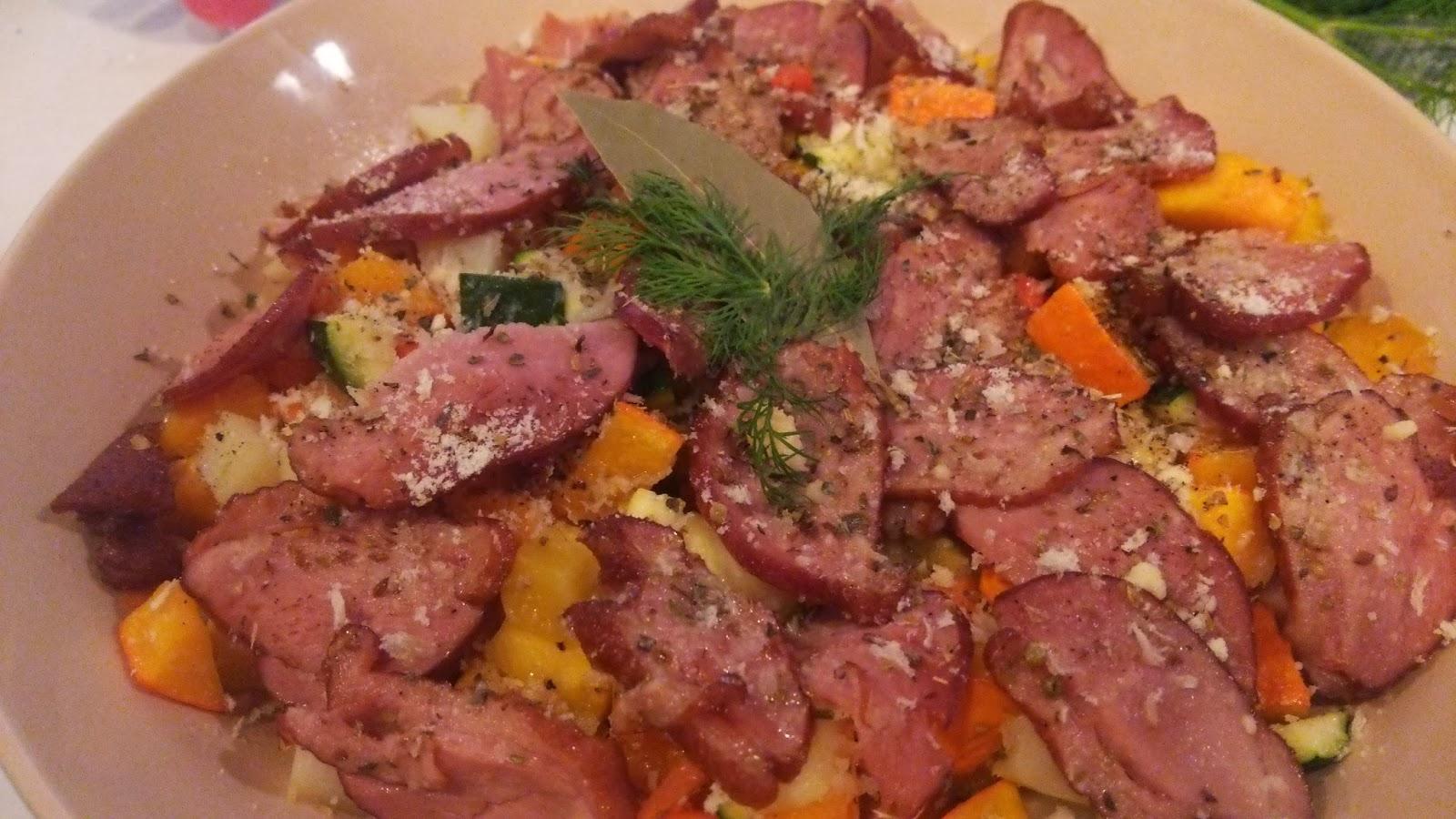 埼玉(さいたま市)の自宅に出張シェフ:鴨スモーク 冬野菜の香草グリルと共に