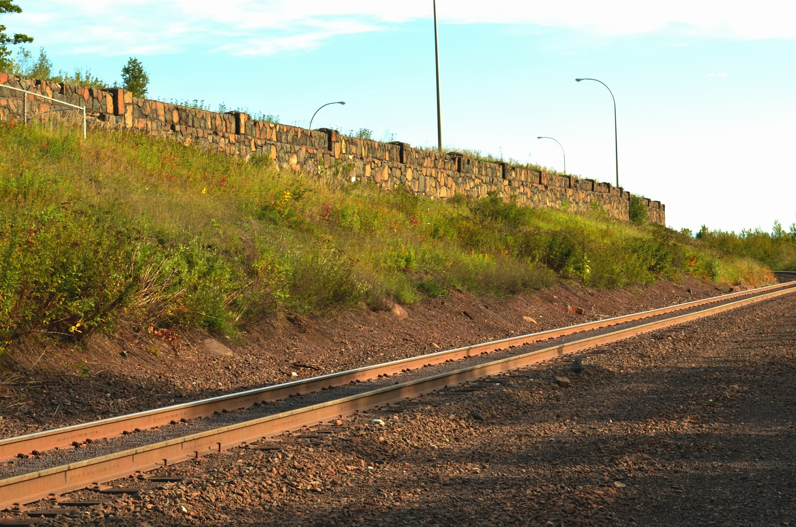 the overlook wall seen from the rail grade