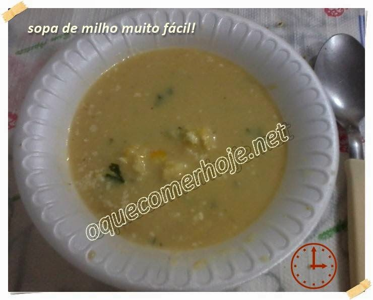 Sopa de milho rápida, muito fácil, cremosa e barata