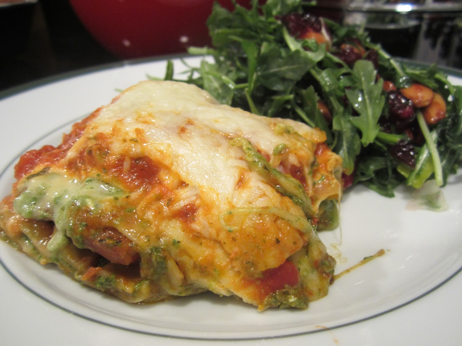 ... veggie lasagna...and the decadent spinach frittata that came after it