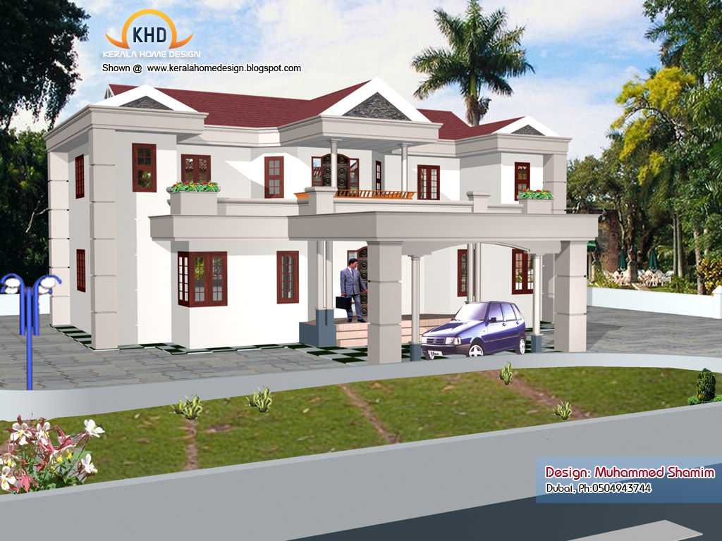 5 beautiful home elevation designs in 3d kerala home for Beautiful home designs photos