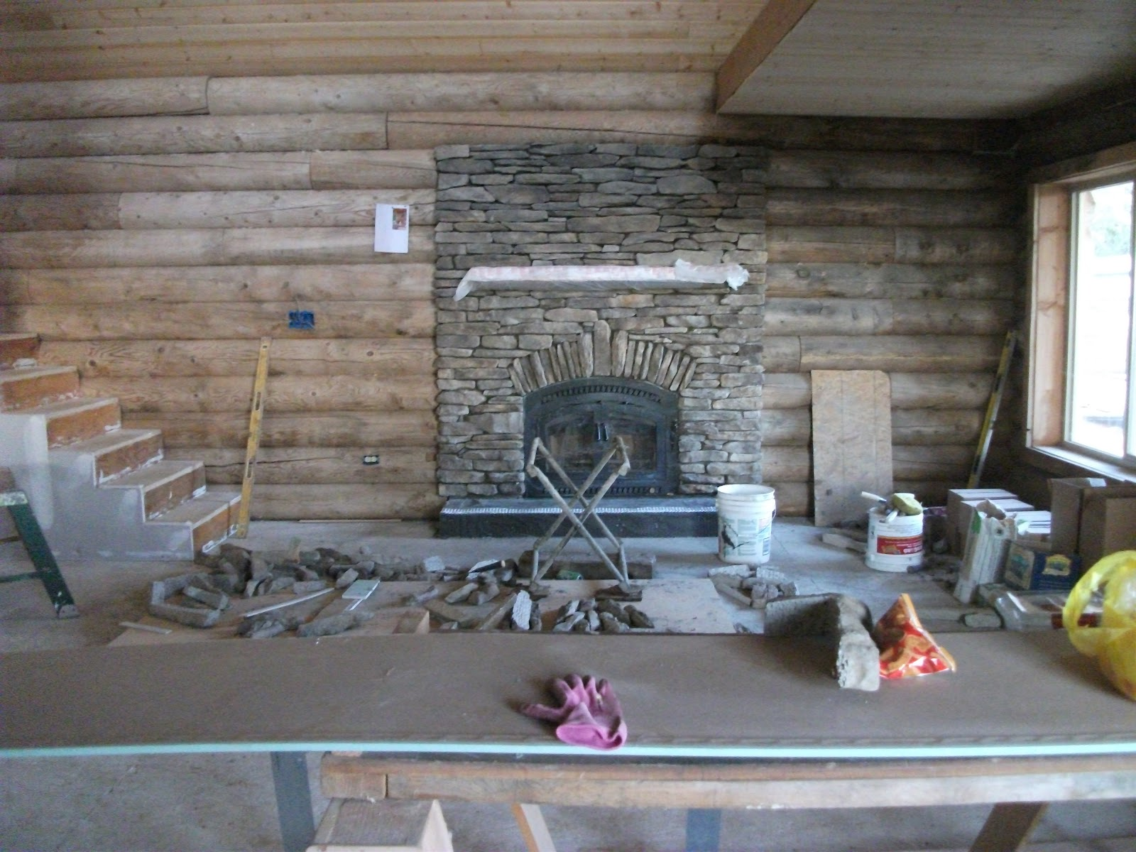 LOG CABIN Fireplace And Garage Start